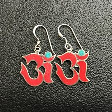 OM Coral Drop Earrings - 925 Sterling Silver Ohm Om *NEW* Namaste Yoga India