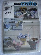 Style Crafts No Sew Pattern 2610 1995 Fabric Basket Tabletop Party Accessory New