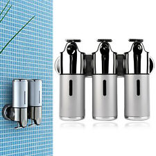 Stainless Steel Bathroom Shampoo Soap Dispenser Wall Mounted 3 Heads Holder JL