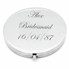 Personalised Silver Round Circle Shape Compact Mirror For Bridesmaid, Wedding