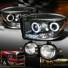 2006-2008 Dodge RAM 1500 2500 3500 Halo Projector LED Black Headlight+Fog Light