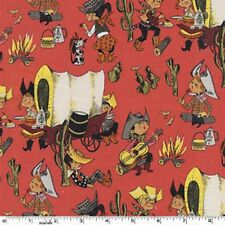 Fat Quarter Covered Wagon Chuckwagon Whimsical Cowboys Red Quilting Fabric
