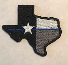 Thin Blue Line TEXAS SHAPE FLAG Morale Tactical Police SWAT Embroider Hook PATCH