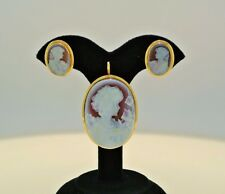 Estate Antique Set Cameo 14k yellow Gold Earrings Pendant/Brooch (Marked)