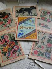 Sajou Set of 6 Post Card Tapestry Charts- Album de Tapisserie 101- Dog & Flowers