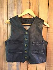 womens VINTAGE Leather western waistcoat BIKER hippy COWGIRL UK 10