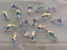 10 Swarovski #6010 11x5.5mm Crystal Clear AB Briolette Drop Pendants Beads