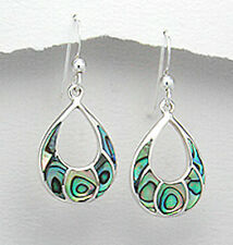 Solid Sterling Silver 35mm Modern Pretty Abalone Curve Hook Dangle Earrings 3.8g