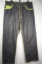 Men's Jeans Victorious Fluer de Lis Green Stitch Flap Pockets 36X32