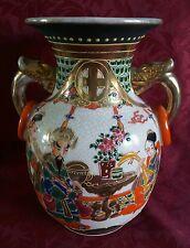 Gran Florero Japonés Satsuma Vintage Crackle Glaze