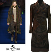 NEW ETRO RUNWAY EXQUISITE MEN'S WOOL MULTICOLOR COAT 48 - 38