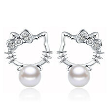 Fashion Womens 925 Sterling Silver Freshwater Pearl Kitty Cat Ear Stud Earrings