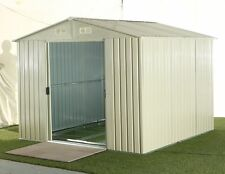 NEW STEEL OUTDOOR GARDEN STORAGE SHED - BEIGE COLOUR - 259 x 257 x 202cm
