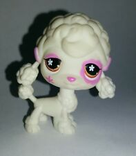 Littlest Pet Shop White Pink Purple Poodle Dog Brown Eyes #551 Preowned LPS
