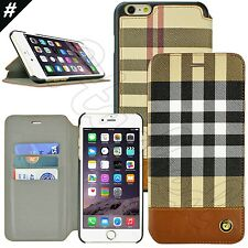 Slim Brown Plaid Credit Card Wallet Flip Case Cover For Apple iPhone 6 6S 4.7""
