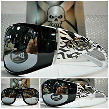 MOTORCYCLE BIKER Day RIDING CHOPPERS SUN GLASSES Black White Frame Chrome Mirror