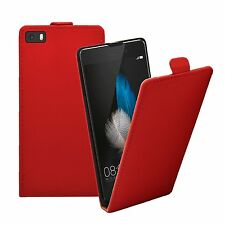 Ultra Slim RED Leather Flip Case Cover Pouch For Mobile Phone Huawei P8 Lite