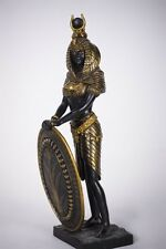 "Ancient Egyptian Sculpture Warrior Goddess Isis With Shield Egypt Mother 11""H"
