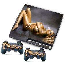 Sexy Beauty Sticker  for PlayStation 3 Slim PS3 Console + 2 free Controller Skin