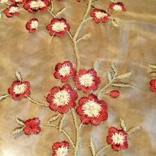 SILK SHEER EMBROIDERY FLOWERS RED HENNA 3 YARDS WIDTH 54""