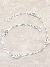 Sterling Silver 925 Figaro Link Heart Anklet Ankle Bracelet
