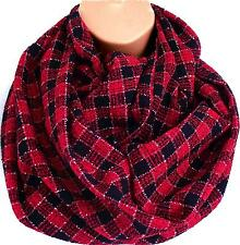 Luxury Red & Black Check Circle Infinity Scarf Snood - Stocking Filler Xmas Gift