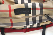 New BURBERRY $575 Leather Red Nova Check Packable Shopper Purse Tote NWT