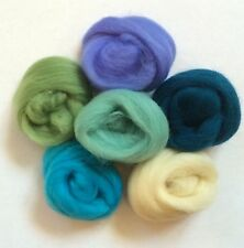 6 ROOLS ART  MERINO WOOL FELT FELTING NEW OCEAN BLUES