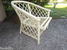 Rattan Wicker Chair Patio Shabby Chic Beach Cottage Bamboo Trellis Ficks Reed ST