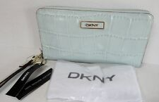 NEW DKNY Light Blue Croco Embossed LEATHER WALLET Wristlet Clutch Zip Purse NWT!
