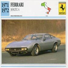1971-1972 FERRARI 365GTC/4 Classic Car Photo/Info Maxi Card