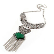 Women Jewelry Retro Long Chain Tassels Crystal Pendant Statement Necklace