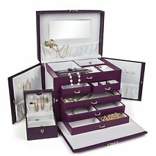 BEAUTIFUL LARGE PURPLE LEATHER JEWELRY BOX With TRAVEL CASE & LOCK