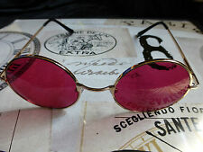 RED & GOLD FRAME ROUND SUNGLASSES WHITBY STEAMPUNK/GOTH/DRACULA/VAMPIRE/SPECS