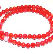MP255e Red 5mm Round Mother of Pearl Shell Gemstone Beads 15""