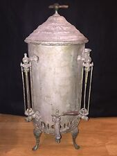 Early 20th C Antique Coffee Urn Pot Hotel Nickel Plated Copper Stoneware Redwing