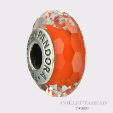 Authentic Pandora Sterling Silver Murano Glass Orange Fascinating  Bead 791626