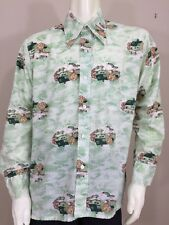Mens Vintage Montgomery Ward Shirt Large Butterfly Collar Green Western Disco