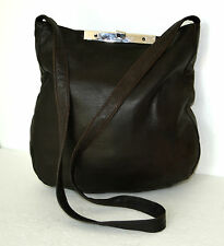 AUTHENTIC MIKA HOT CHOCOLATE BROWN GENUINE LEATHER SHOULDER HANDBAG LARGE BAG