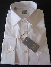 NWT IKE BEHAR NEW YORK SOLID WHITE SHIRT GOLD LABEL 17 LONG SLEEVE 32