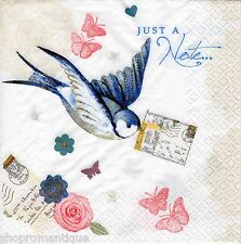 4 x Single PAPER NAPKINS Just a note Bird Letter Butterflies DECOUPAGE CRAFTS