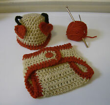 Newborn Baby Valentine's Love Bug Hat and Diaper Cover- Hand Crochet- Photo Prop