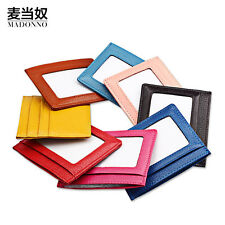 Women Leather Multi Credit Bus Card Gift Wallet 2 Slots Mini Thin ID Window