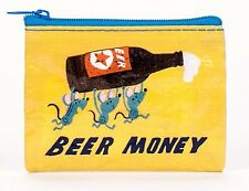 Blue Q Coin Purse Beer Money 95% Recyled Material Zipper