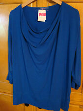 NWT FRESH PRODUCE PLUS 1X HORIZON COWLNECK 3/4 SLV TOP COBALT BLUE STRETCH $64