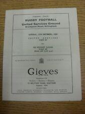 Programa de Unión de Rugby 29/09/1956: Servicios Unidos (Chatham) 1st XV V Antiguo Merchan