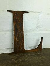 L Rusty Rusted Steel Metal Letter Industrial Sign Garden Decoration Ornament
