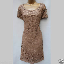 New Next Beige Gold Bronze Shimmer Floral Lace Shift Cocktail Dress 16 UK