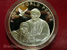 2010 Solomon Is Large Silver Proof $10-Pope John Paul II-Mother Theresa/Peace