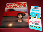 1991 CHEVY S-10 PICKUP TRUCK BROCHURE CATALOG + ORIG CHEVROLET PAINT COLOR CHIPS